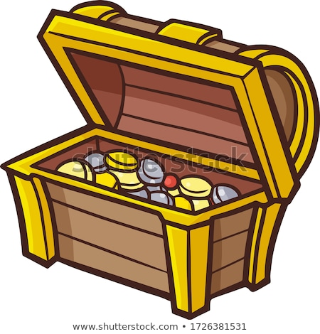 Treasure Chest Filled Pirate Coins Vintage Vector Stock photo © pikepicture