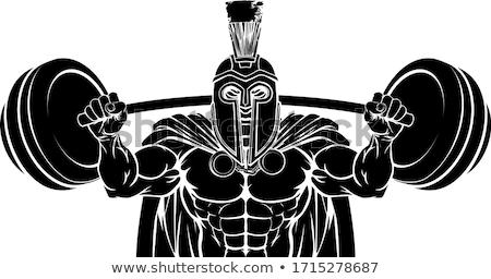 Spartalı truva vücut geliştirme maskot gladyatör Stok fotoğraf © Krisdog
