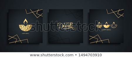 Stock photo: Happy diwali festival card gold indian diya candle