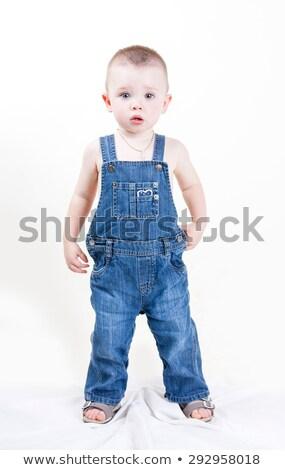 かわいい 赤ちゃん ビッグ 青い目 デニム 白 ストックフォト © Lopolo