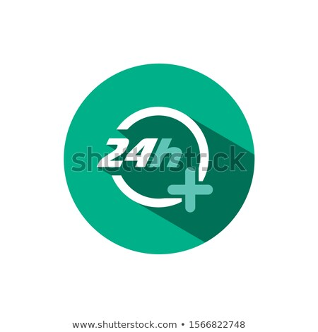 24 hours pharmacy service icon with shadow on a green circle. Vector pharmacy illustration Stock photo © Imaagio