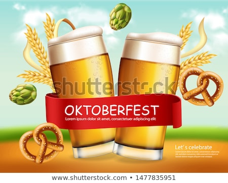 Beer mugs banner October fest Vector realistic. Fresh sparkling  Stock photo © frimufilms