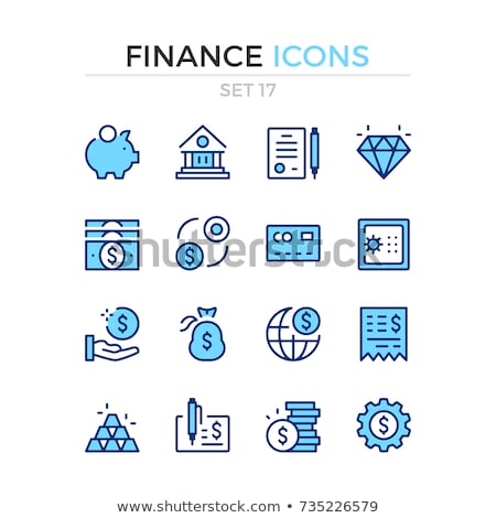 Banking icons set. Black and blue color. Stock photo © smoki