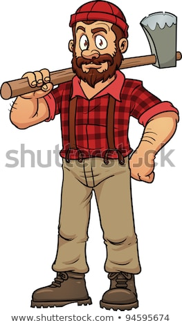 Desenho animado lenhador machado floresta profissional masculino Foto stock © Voysla