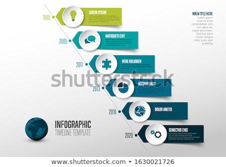 Stock fotó: Simple Diagonal Timeline Template With Icons - Pastel Colors Version