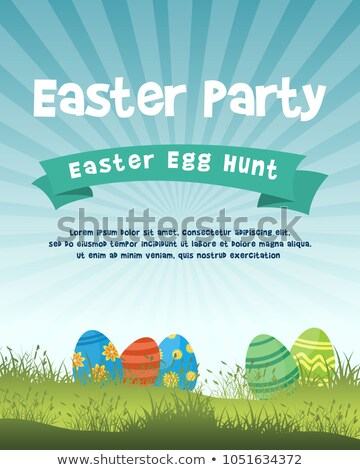 Cheerful Easter Background Layout With Eggs And Flowers Stock photo © solarseven