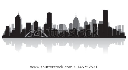 Melbourne preto e branco silhueta simples turismo Foto stock © ShustrikS