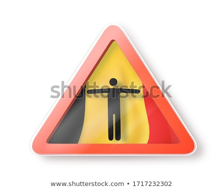 Warning sign with man's figure on the Belgian flag. Stock photo © artjazz