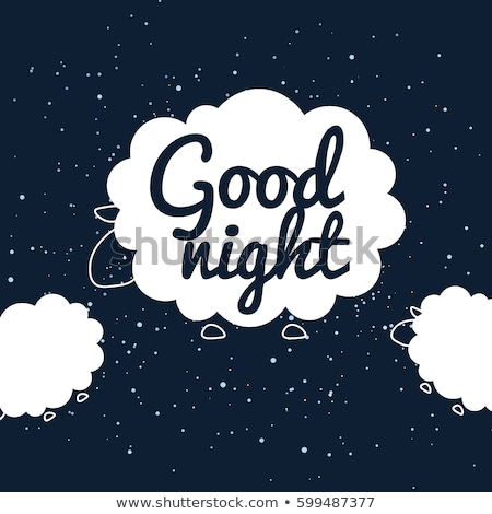 Good night banner with flat sheep Stock photo © barsrsind