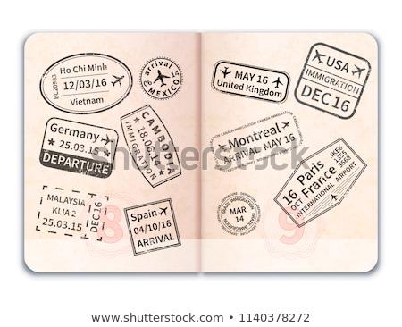 Realistisch Open buitenlands paspoort zwarte immigratie Stockfoto © evgeny89