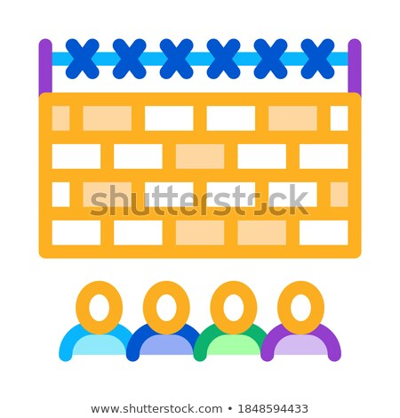 banned people behind fence icon vector outline illustration Stock photo © pikepicture