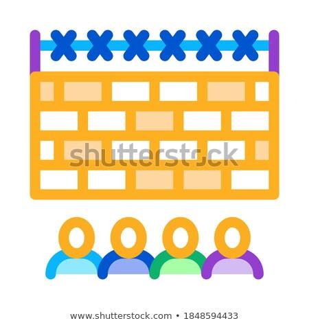 Insanlar arkasında çit ikon vektör Stok fotoğraf © pikepicture
