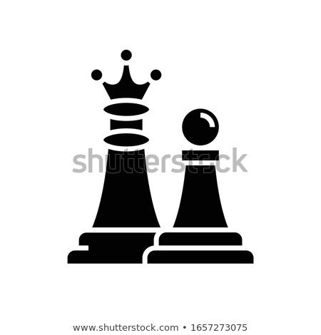 Sakkfigura gyalog vektor ikon izolált fehér Stock fotó © smoki