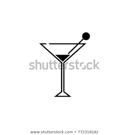 Vodka martini gin cocktail in modern glass on white background with reflection. Stock photo © DenisMArt