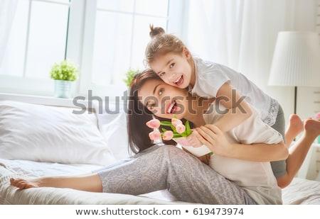 jeune · femme · éveillé · lit · pense · belle · sérieux - photo stock © hasloo