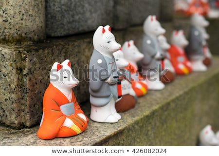 Foto stock: Raposa · estátua · santuário · quioto · Japão · vermelho