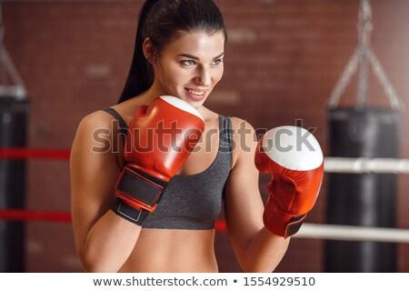 Vadászrepülő boxoló áll bámul erős fekete Stock fotó © Maridav