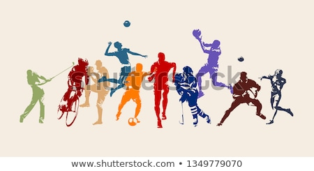 kriket · oyuncular · siluetleri · ayarlamak · alan · top - stok fotoğraf © kaludov