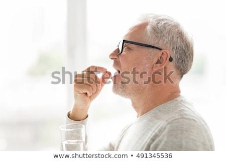 Photo stock: âgées · homme · médication · verre · eau