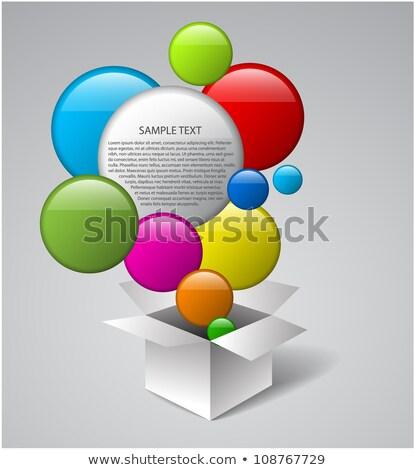 vector box full of colorful bubbles stock photo © orson