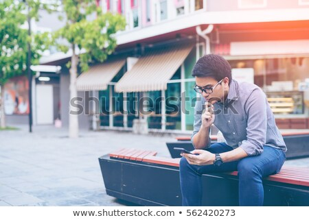 Teen male teenagers looking at text message Stock photo © photography33