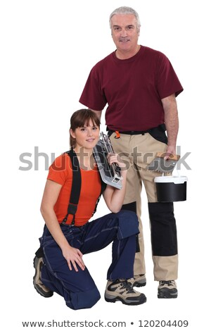 tile cutter and female helper stock photo © photography33