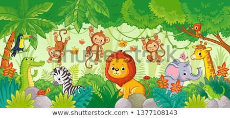 Małpa cartoon zestaw funny uśmiech szczęśliwy Zdjęcia stock © dagadu