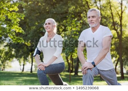 Portré idős pár testmozgás férfi fa otthon Stock fotó © photography33