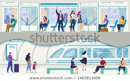 Człowiek jazda konna tramwaj student okno pociągu Zdjęcia stock © photography33