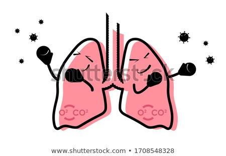 Vicces tüdő vektor rajz különböző dohányzás Stock fotó © pcanzo