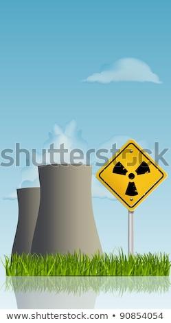 Absztrakt nukleáris erőmű fű virágok tavasz Stock fotó © WaD