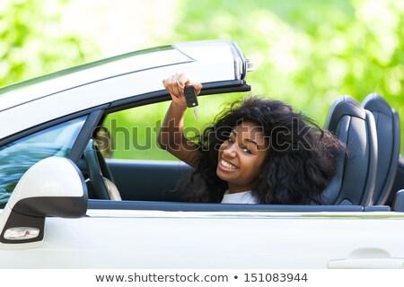 Retrato jovem belo preto adolescente animado Foto stock © dacasdo