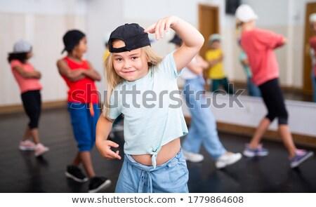 Rapper kicsi gyerek lány hallgat zene Stock fotó © jarp17