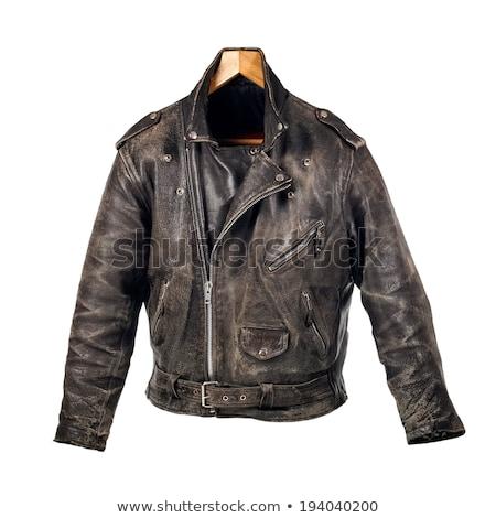 Zíper marrom couro motocicleta jaqueta moda Foto stock © snyfer