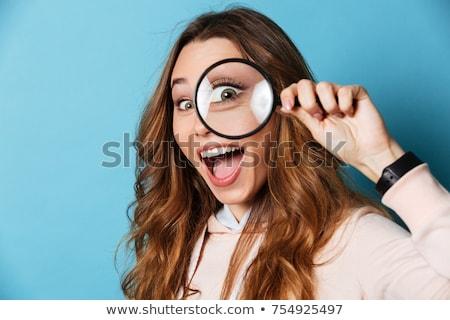 Nő néz nagyító toll haj portré Stock fotó © photography33