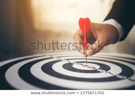 közelkép · piros · darts · cél · izolált · fehér - stock fotó © arenacreative