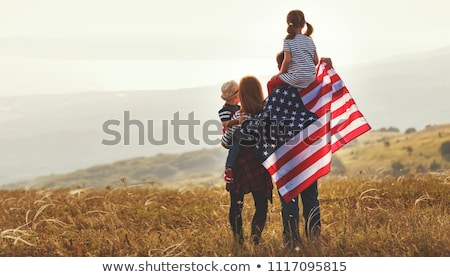 the beautiful girl with the usa flag stock photo © orensila