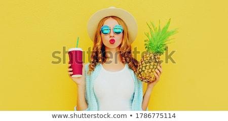 ブロンド · 女性 · パイナップル · 白 - ストックフォト © chesterf
