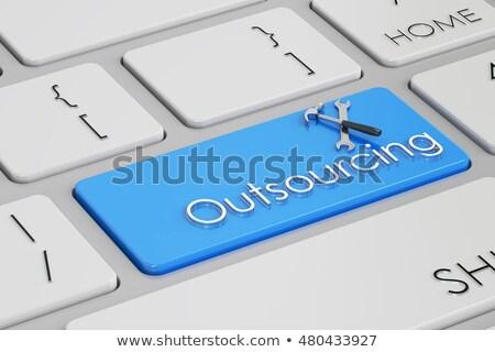 Witte toetsenbord outsourcing knop moderne Stockfoto © tashatuvango
