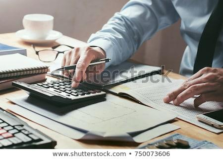 Stock fotó: üzletember · pénzügy · iroda · boldog · érett · számológép