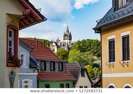 Villa Frankfurt mavi gökyüzü Bina şehir Stok fotoğraf © meinzahn