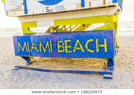 Fából készült tengerparti kunyhó art deco stílus dél tengerpart Stock fotó © meinzahn