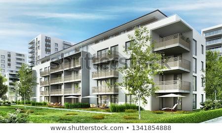 3D · 現代 · アパート · 建設 · 白 · ライフスタイル - ストックフォト © designers