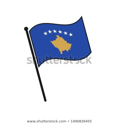 Kosovo Small Flag on a Map Background. Stock photo © tashatuvango