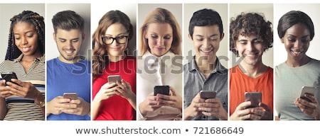 スマートフォン · アプリ · インターネット · 青 · 携帯 · 画面 - ストックフォト © designers
