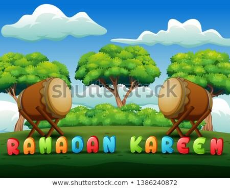 Meczet jasne kolorowy ramadan zielone wektora Zdjęcia stock © bharat