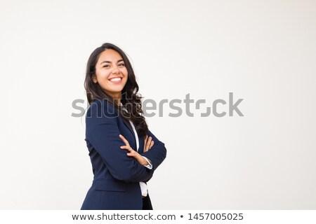çekici genç koyu esmer kadın beyaz Stok fotoğraf © pdimages