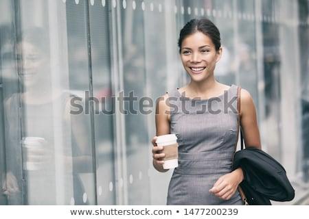 cute · jong · meisje · mok · buiten · glimlachend - stockfoto © dash
