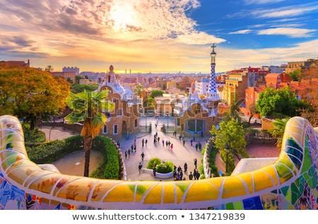 Cidade Barcelona pôr do sol ver Espanha direção Foto stock © rognar
