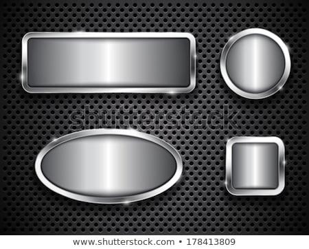 Steel metal ellipse frame. Vector border Stock photo © saicle